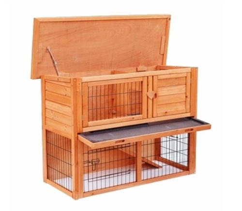 12.Yoshioe 36 2 Tiers Rabbit Bunny Dog Wooden Pet Hutch House with Waterproof Spacious Inner Room