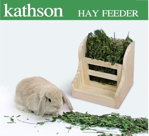 12.kathson Rabbit Hay Feeder Wood Food Manger Hay Dispenser Wooden Rack for Bunny Guinea Pig Chinchilla