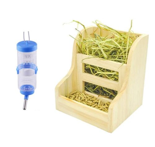 13.2 Pack Rabbit Hay Feeders Rack,Bunny Water Bottles Dispenser,Hay Food Bin, 2 in 1 Feeder Bowls Double for Grass Food for Small Animal