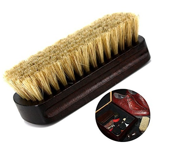 13.Boot Brush Cleaner Shine Shoe Pig Bristles Brush with Wood handle Tinksky Cleaning Brush (Beige)