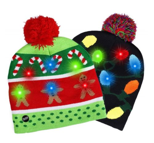13.Fitkey 2 Pack LED Light-up Knitted Hat with 3 Flashing Modes for Holiday Xmas Christmas (One Size Fits More)