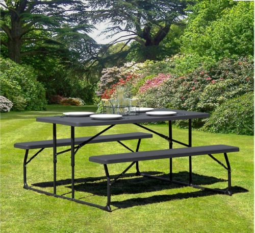 13.Flash Furniture Insta-Fold Charcoal Wood Grain Folding Picnic Table and Benches