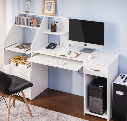 13.Harper&Bright designs Computer Desk with Cabinet,Home Office Desk, Computer Workstation, Study Writing Desk with Storage Drawer and Pull-Out Keyboard Tray