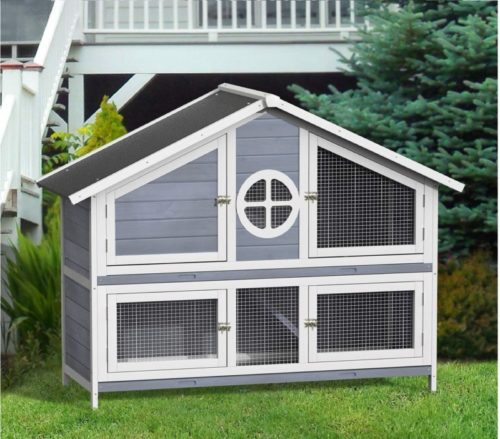 13.Rhomtree Large Wood Rabbit Hutch Chicken Coop Rabbit Bunny Outdoor Garden Backyard Hen House Small Animal Cage Pet House