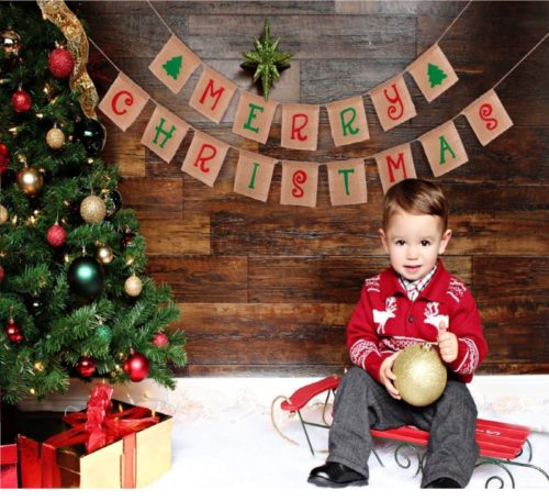 13.jollylife Merry Christmas Banner Decorations - Xmas Party Burlap Garland Holiday Bunting Indoor Outdoor Sign Decor