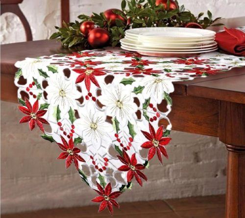 2.OurWarm Christmas Embroidered Table Runners Poinsettia Holly Leaf Table Linens for Christmas Decorations 15 x 69 Inch