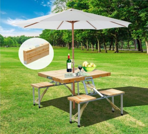 2.Outsunny 4 Person Wooden Portable Compact Folding Suitcase Picnic Table Set With Umbrella Hole