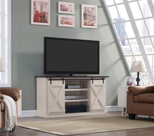 2.Pamari Wrangler Sliding Barn Door TV Stand, Off-White
