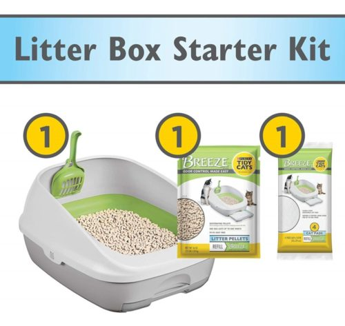 2.Purina Tidy Cats Litter Box System, Breeze System Starter Kit Litter Box, Litter Pellets & Pads