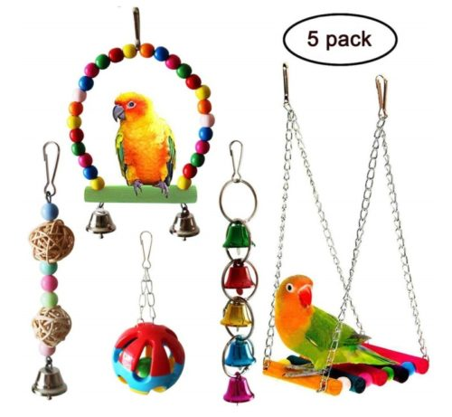 2.QUMY 5pcs Bird Parrot Toys Hanging Bell Pet Bird Cage Hammock Swing Toy Wooden Hanging Perch Toy for Small Parakeets Cockatiels, Conures