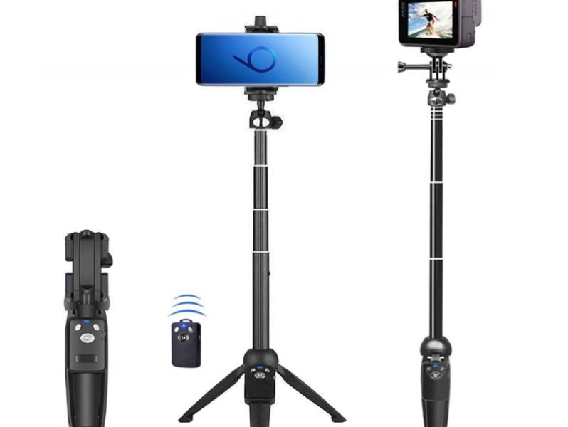 2.Selfie Stick, 40 inch Extendable Selfie Stick Tripod,Phone Tripod with Wireless Remote Shutter Compatible with iPhone 11 11 pro Xs Max Xr X