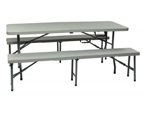 3.Office Star Resin 3-Piece Folding Bench and Table Set, 2 Benches and 6 x 2.5-Feet Table