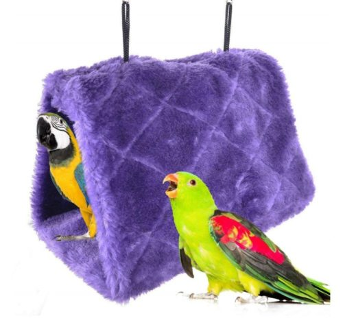 3.Winter Warm Bird Nest House Shed Hut Hanging Hammock Finch Cage Plush Fluffy Birds Hut Hideaway for Hamster Parrot Macaw Budgies Eclectus Parakeet Cockatiels Cockatoo Lovebird