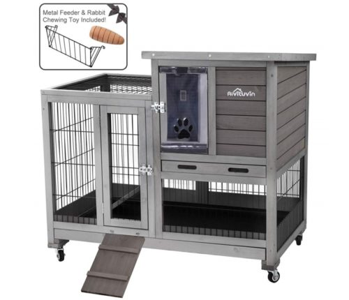 4.Aivituvin Rabbit Hutch Indoor Bunny Hutch with Run Outdoor Rabbit House with Two Deeper No Leak Trays - 4 Casters Include