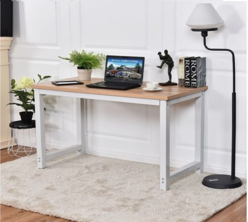 4.CHEFJOY Computer Desk PC Laptop Table Wood Work-Station Study Home Office Furniture, White & Natural