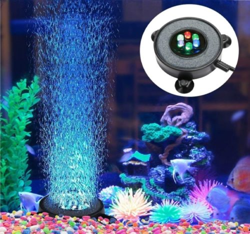 4.DXCEL LED Aquarium Air Bubble Light Fish Tank Air Curtain Bubble Stone Disk with 6 Color Changing LEDs