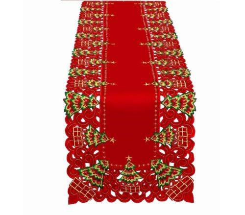 4.Grelucgo Embroidered Christmas Holiday Holly Tree Table Runner, Dresser Scarf, Rectangular 16 x 72 Inch