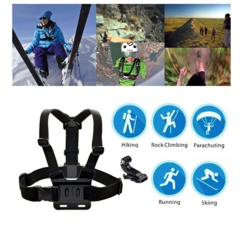 4.TEKCAM Action Camera Head Strap Chest Harness Belt Mount with Carrying Pouch Compatible with Gopro Hero 7 6 5 AKASO EK7000 Brave 4 V50