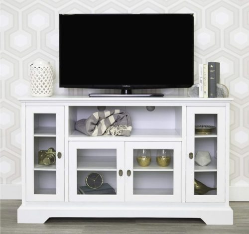 4.WE Furniture Traditional Wood Universal Stand for TV's up to 58 Flat Screen Living Room Storage Entertainment Center, 52 Inch, White
