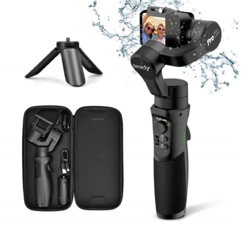 5.3axis Gimbal Stabilizer for GoPro Action Camera Handheld Pro Gimbal Tripod Stick with Motion Time-Lapse APP Control for Gopro Hero 7,6,5,4,3,SJ CAM,YI Cam,Sony RX0 - Hohem, Black