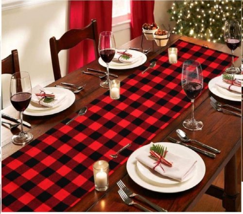 5.AerWo Cotton & Burlap Buffalo Check Table Runner, Christmas Reversible Buffalo Plaid Table Runner for Christmas Table Decoration,