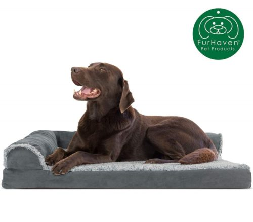 5.Furhaven Pet Dog Bed Orthopedic L Shaped Chaise Lounge Sofa-Style Living Room Corner Couch Pet Bed w Removable Cover for Dogs & Cats