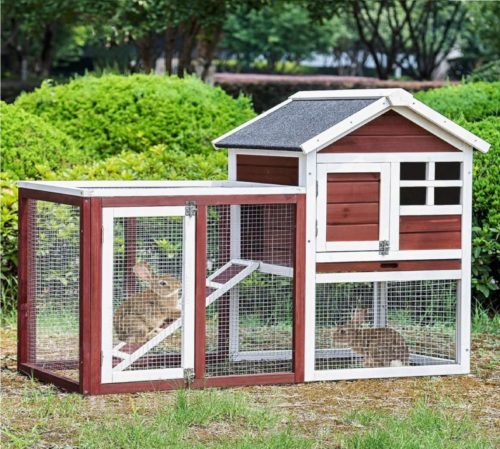 5.Merax Rabbit Hutch,48 Outdoor Bunny House Cage 2 Story Pet House Chicken Coop with Removable Tray & Run Rabbit Cage Guinea Pig House