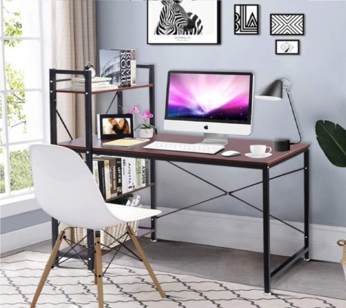 5.Tangkula 47.5 Computer Desk, Modern Style Writing Study Table with 4 Tier Bookshelves, Home Office Desk, Compact Gaming Deskv