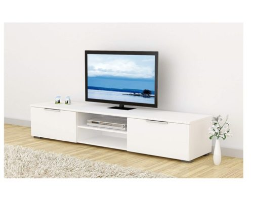 5.Tvilum Match TV Stand, White High Gloss