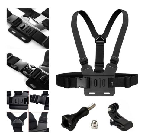 6.Adjustable Chest Strap Mount Elastic Action Camera Body Belt Harness with J Hook for GoPro HD Hero 5 4 3+ 3 GoPro 6 7