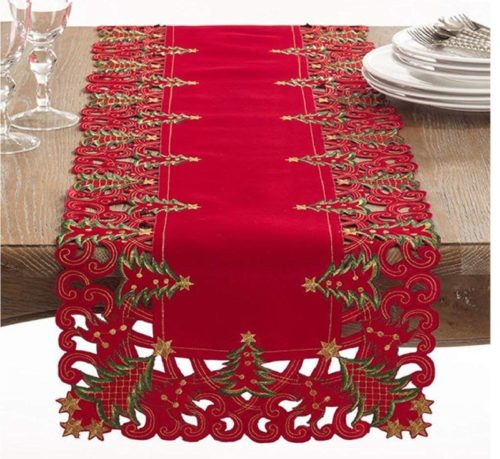 6.Fennco Styles Pandoro Collection Holiday Christmas Tree Table Runner - 16 X 68