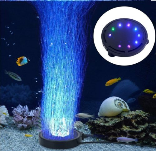 6.LONDAFISH Aquarium Bubble Light Aquarium Air Stone LED Light Air Pump Bubble Stone Lamp