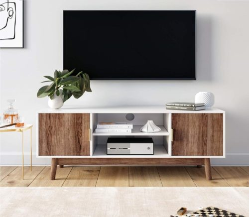 6.Nathan James 74403 Wesley Scandinavian TV Stand Media Console with Wooden Frame and Cabinet Doors, White Rustic Oak