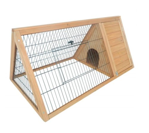 6.PawHut Outdoor Triangular Wooden Bunny Rabbit Hutch Guinea Pig House with Run