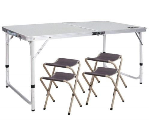 6.REDCAMP Outdoor Picnic Table Adjustable, Folding Camping Table with 4 Chairs, Aluminum White