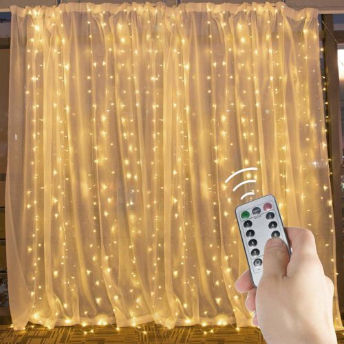600 LED Curtain String Light 20 Feet Pro Icicle Lights with Remote and Timer