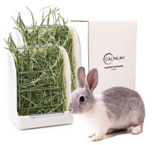 7.CalPalmy (Upgraded 2-Pack) Hay Feeder Rack - Ideal for Rabbit Chinchilla Guinea Pig - Keeps Grass Clean & Fresh Non-Toxic, BPA Free Plastic Minimizing WasteMess