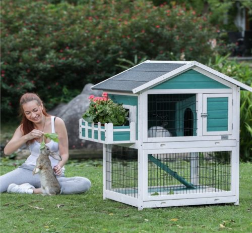 7.Petsfit 42.5 x 30 x 46 inches Bunny Cages,Outdoor Rabbit Hutch