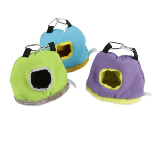 7.Stock Show Parrot Nest Plush Warm Winter Hanging Hammock Pet Bird Round Hanging Swing Bed Cave Cage Decor Small Animals House Hanging Hammock, Random Color