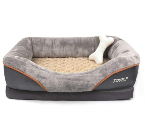 8.JOYELF Orthopedic Dog Bed Memory Foam Pet Bed with Removable Washable Cover and Squeaker Toy as Gift