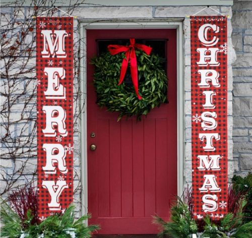 8.O-Heart Merry Christmas Banner, Buffalo Plaid Christmas Porch Sign Hanging Xmas Decorations Indoor Outdoor for Home Wall Front Door Apartment Party
