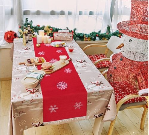 8.OurWarm Christmas Embroidered Table Runner White Snowflakes Table Linens for Christmas Decorations 16 x 72 Inch