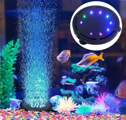 8.ackSuper Aquarium Air Stone Bubble Light Submersible Fish Tank Air Bubbler LED Light Air Pump Bubble