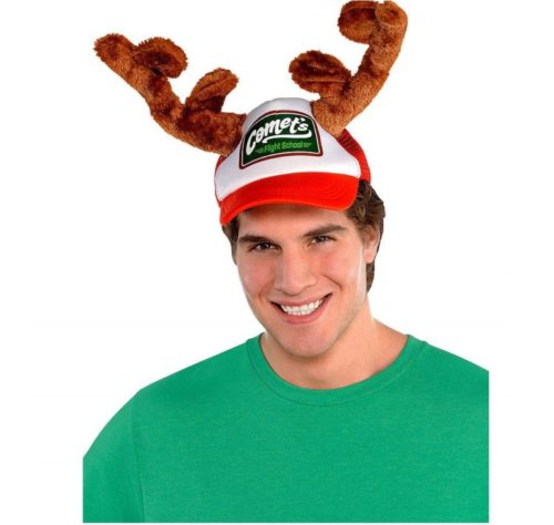 8.amscan Christmas Trucker Hat with Plush Antlers, Adult, 10 x 6