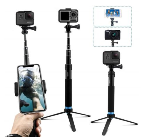 9.AFAITH Upgraded Pole for GoPro, Aluminum Alloy GoPro Selfie Stick with Stable Tripod Waterproof Handheld Monopod for GoPro Hero 8 Black