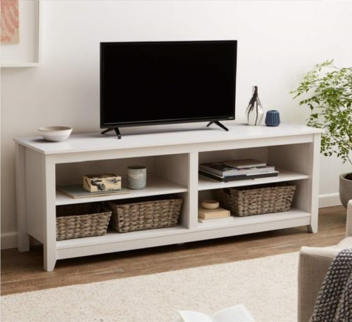 9.AmazonBasics Classic 58 Wood TV Stand with Storage Console, White Oak