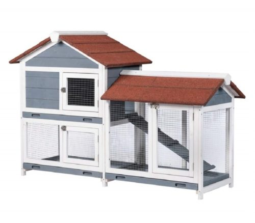9.Good Life Two Floors 62 Wooden Outdoor Indoor Roof Waterproof Bunny Hutch Rabbit Cage Guinea Pig Coop PET