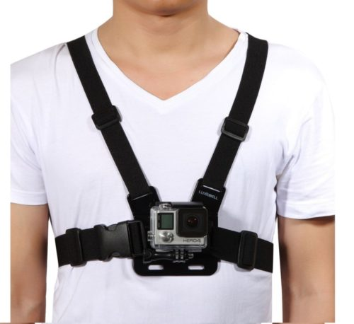9.Luxebell Chest Mount Harness Strap for Gopro Hero 8 7 6 5 4 3 3+ Max Session Black Silver Fusion and Sjcam with J-Hook -