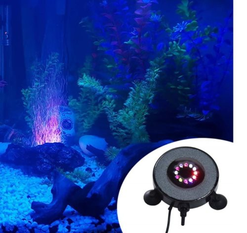 9.OIIKURY Aquarium Bubble Light Air Stones Disk for Fish Tank, Bubbler Light with 24 Color Changing LED