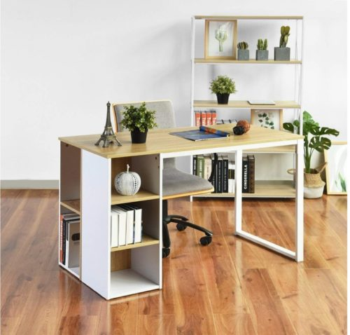 9.Office Computer Writing Desk with 5 Side Shelves, Large Work Desk with Storage Students Study Table Home-Office Conference Room Tables Desk